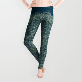 Rose Gold Marble Mandala Turquoise Textured Leggings