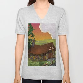Jack and the Beanstalk Cottage in the evening Unisex V-Neck