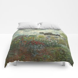 Claude Monet  A Corner of the Garden with Dahlias Comforters
