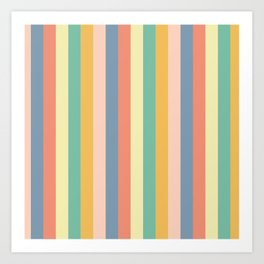 Retro Stripes Gold Blue Green Red Art Print