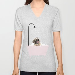 Laughing Pug Enjoying Bubble Bath Unisex V-Neck