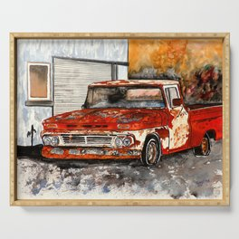 Old red pickup truck Serving Tray