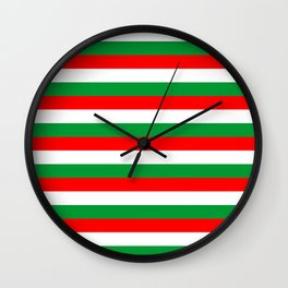 italy hungary bulgaria iran mexico Madagascar flag stripes Wall Clock