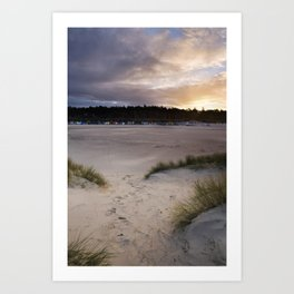 Beach Huts and sky at sunset, Wells-next-the-sea, North Norfolk Coast, UK Art Print