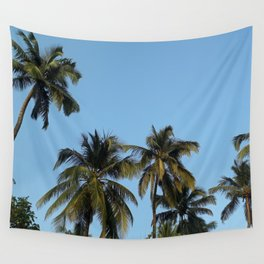 Plam Tree With A Clear Blue Sky Wall Tapestry