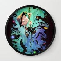brad pitt Wall Clocks featuring The Pitt by Richtoon