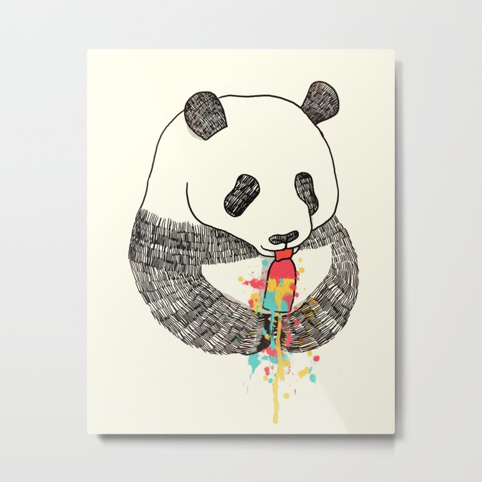 Panda Loves Ice Cream Metal Print