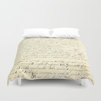 writing Duvet Covers featuring Vintage Writing by Paper Rescue Designs
