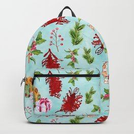 Beautiful Christmas Pattern with Australian Native Flowers Backpack