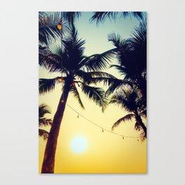 Vintage Palm trees with patio lanterns Canvas Print