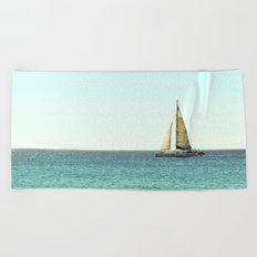 Sail Away with Me - Ocean, Sea, Blue Sky and Summer Sun Beach Towel