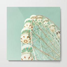 Soft Aqua Ferris Wheel  Metal Print