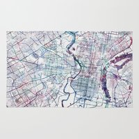 philadelphia Area & Throw Rugs featuring Philadelphia map by MapMapMaps.Watercolors