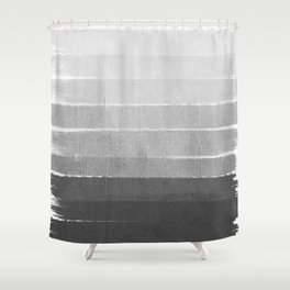 Brushstroke - Ombre Grey, Charcoal, minimal, Monochrome, black and white, trendy,  painterly art  Shower Curtain