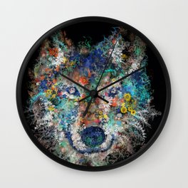 floral animals wolf 2 Wall Clock
