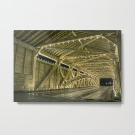 Covered Bridge Interior - Holiday Lights Metal Print