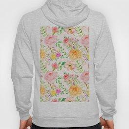 Watercolor Peach Rose Pattern Hoody
