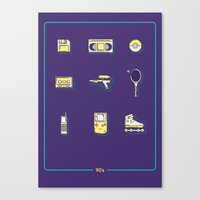 90s Canvas Prints featuring 90s Stuff by POP Collective