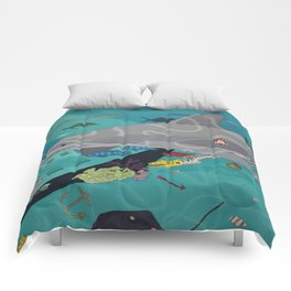 Aquarium (Shark Painting) Comforters