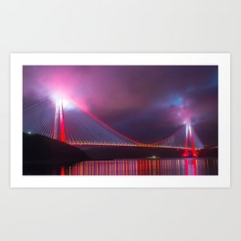 Amazing Yavuz Sultan Selim Bridge Bosphorus Strait  Istanbul Romantic Lighting Ultra HD Art Print