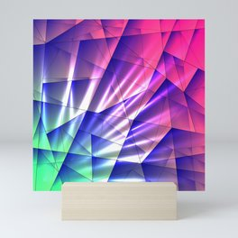 Bright glare of crystals on irregularly shaped blue and violet triangles. Mini Art Print