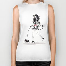 Houndstooth and a Scottie Watercolor Fashion Illustration Biker Tank