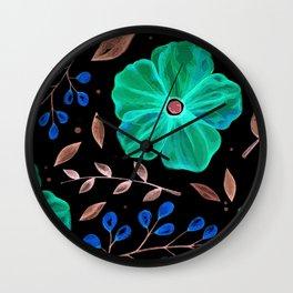 Elegnat green flower texture Wall Clock