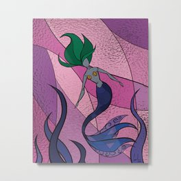 Mermaid Stained Glass (Royal) Metal Print