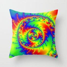 """Psyspiral"" Psychedelic Spiral Fractal Art Throw Pillow"