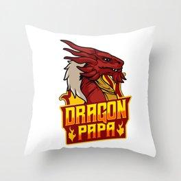 Awesome Dragon Papa Fearsome Dragon Fantasy Dad Throw Pillow