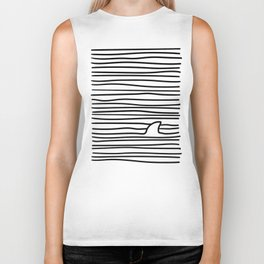 Minimal Line Drawing Simple Unique Shark Fin Gift Biker Tank