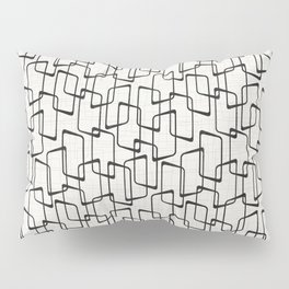 Black Retro Rounded Rectangles Geometric Pattern Pillow Sham