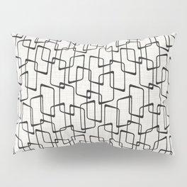 Black Retro Rounded Rectangles Geometric Pattern Pillow Sham