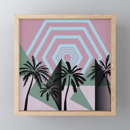 Throwback Desert Pyramids - Geometric Retro Modern Palms Pastel Graphic Blush Green Rose Blue Framed Mini Art Print