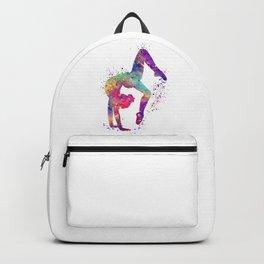 Girl Gymnastics Tumbling Watercolor Backpack