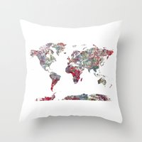 map of the world Throw Pillows featuring World Map  by MapMapMaps.Watercolors