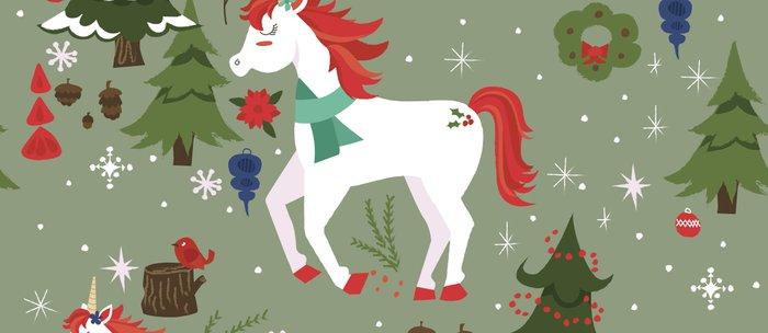 Christmas Winter Unicorn Pattern Coffee Mug