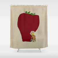 strawberry Shower Curtains featuring strawberry by Madmi