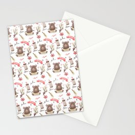 Cute Baby Pattern Bear Design. Stationery Cards