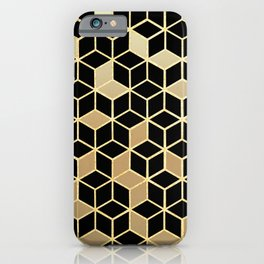 Black And Gold Gradient Cubes Shower Curtain iPhone Case