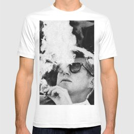 John F Kennedy Cigar and Sunglasses Black And White T-shirt
