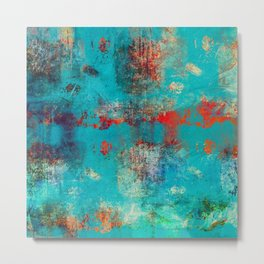 Aztec Turquoise Stone Abstract Texture Design Art Metal Print