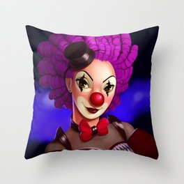 The Pink Clown in the Limelight Throw Pillow