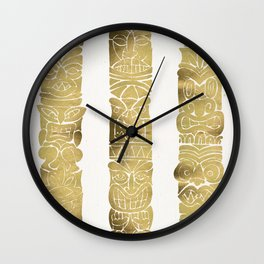 Tiki Totems – Gold Palette Wall Clock