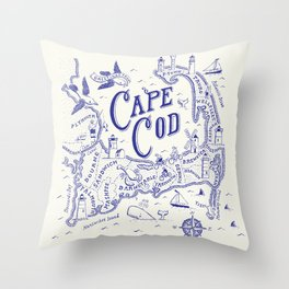 Cape Cod Map Throw Pillow