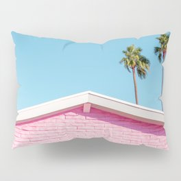 Pink House Roofline with Palm Trees (Palm Springs) Pillow Sham