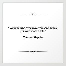 Truman Capote Quote Art Print