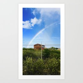 Shack under a Rainbow Art Print