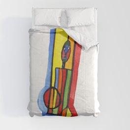 Man with colorful geometry Comforters