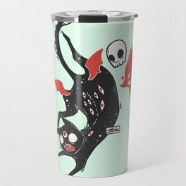 Creepy Cute Black Cat Travel Mug